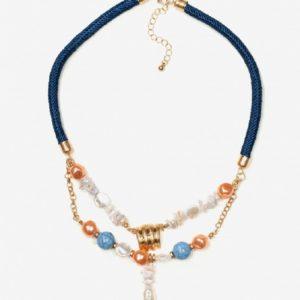 Collar azul con perlas