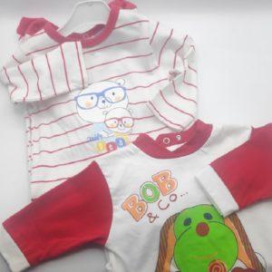 Dos pijamas talla 3 meses en rojo