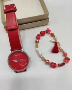Juego reloj y pulsera en rojo