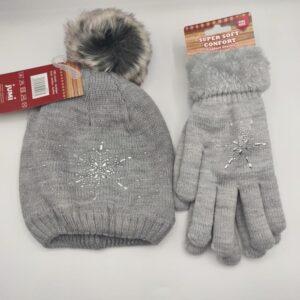Conjunto gorro y guante de lana en gris