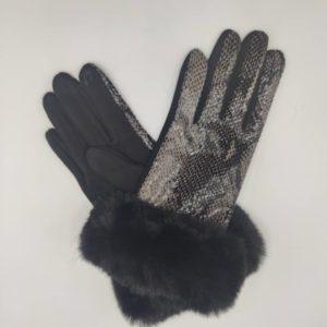 Guante señora textil y polipiel negros