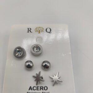 Pack de tres pendientes color plata